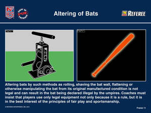 Rules from a highscholl league about bat rolling and bat shaving