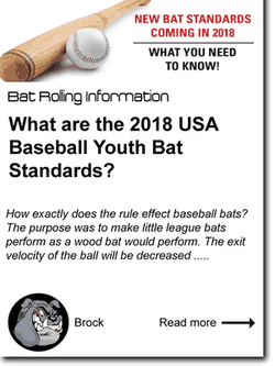 What are the 2018 USA Baseball Youth Bat Standards?