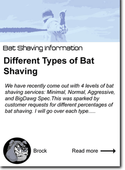 Different Types of Bat Shaving: Normal, 75% Minimal, Aggressive and BigDawg Spec